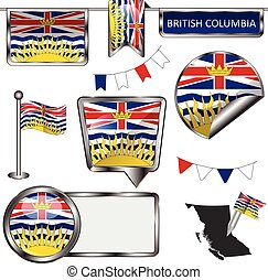 Glossy icons with flag of province British Columbia