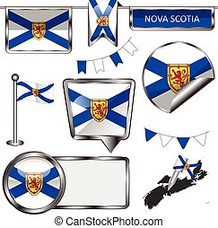Glossy icons with flag of province Nova Scotia - Vector...
