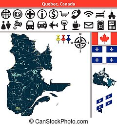 Quebec with cities, Canada - Vector map of regions of Quebec...