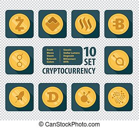 set of ten different cryptocurrency - set icon flat of ten...