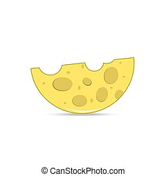 Yellow semicircular cheese with holes