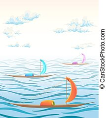 landscape with sea waves, clouds and ancient boats. vector illustration