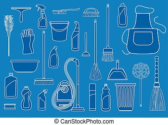 set of cleaning tools on blue background. tools of...