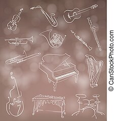 Set of classical musical instruments made in abstract hand...
