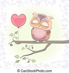 cute owl dreaming on a branch and heart balloon. cartoon vector illustration