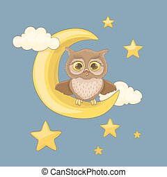 little yawning owl sitting on a moon with clouds and night stars. vector cartoon illustration