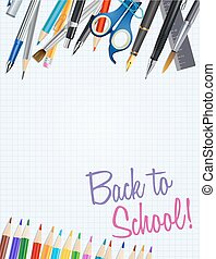 back to school notepad background with supplies. vector illustration