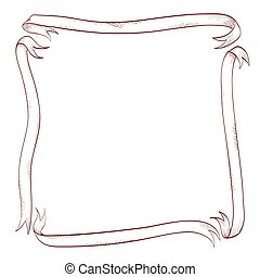 frame made of ribbons. vintage style design element for decorating cover, books pages. hand drawn vector illustration
