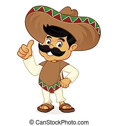 Mexican man cartoon giving thumbs up