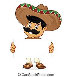 Mexican man cartoon holding blank sign isolated in white...