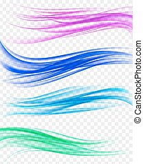 set of abstract background with wavy curves in motion. vector illustration