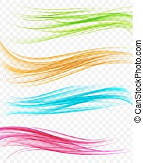 set of abstract background with multicolored wavy curves in motion. vector illustration