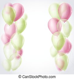 light green and red balloons border celebration background. vector illustration