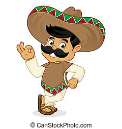 Mexican man cartoon leaning isolated in white background