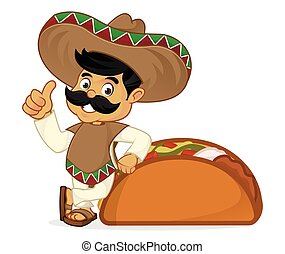 Mexican man cartoon leaning on taco isolated in white...