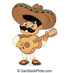 Mexican man cartoon playing guitar isolated in white...