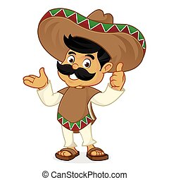 Mexican man cartoon presenting isolated in white background