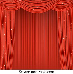 theater red curtains and stars. vector illustration