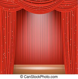 red theater curtains and spot light on stage. vector illustration