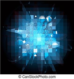 blue light burst explosion and rays background. vector