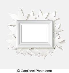 marco,  vector, hojas, Ilustración, blanco