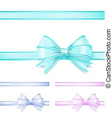 soft colors bow ribbon on white. vector illustration