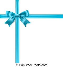 blue silky bow ribbon on white background. vector