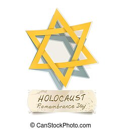yellow Star of David and Holocaust Remembrance Day vector...