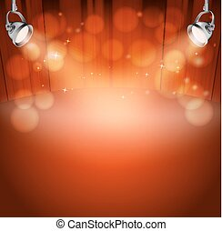 red theater background with projector lights and stars. vector illustration