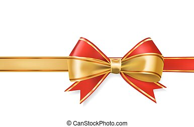 red and gold ribbons bows vector decorative element