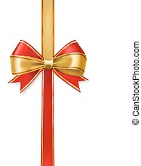 red and gold ribbons bows border vector decorative element