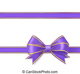 violet with gold ribbon bow on white. vector illustration