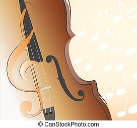 abstract violin, g clef and musical notes. vector...