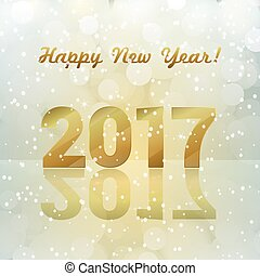 golden 2017 number and light effects blue background. happy...