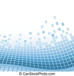 abstract mosaic background with blue wavy particles. vector illustration