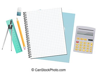 maths notebook sheet paper background with ruler, pencil, eraser and calculator. vector