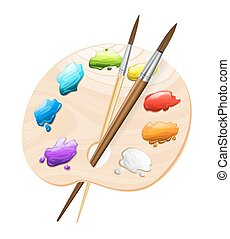 art palette with brushes on white. painting tools symbol. vector illustration