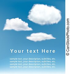 realistic vector white clouds on blue sky background