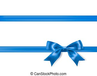 royal blue silky bow and ribbon border on white background....