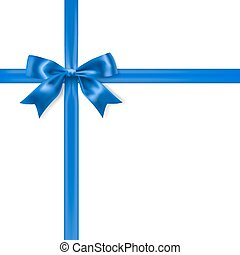 royal blue silky bow and ribbon on white background. vector