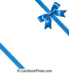 royal blue silky bow and ribbon corner on white background....