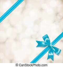 light blue vow and ribbon on blurry background. vector...