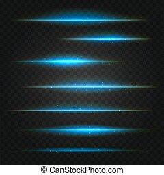 set of vector blue lens flares on transparent background