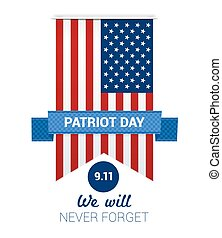 9.11 Patriot Day with USA flag illustration. vector