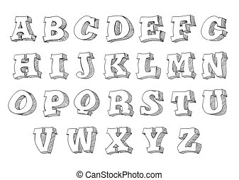 alphabet set 3d form in hand drawn comic style. Vector illustration