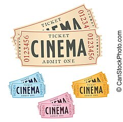 a pair of cinema tickets isolated on white with color...