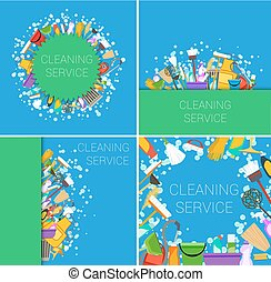 set of cleaning service supplies green and blue backgrounds. vector