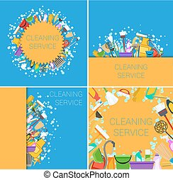 set of cleaning service supplies yellow and blue backgrounds. vector