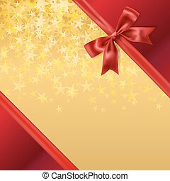 golden stary background with red silky ribbon bow...