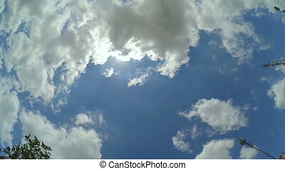Sky with sun and clouds. - Timelapse movie of Sky with sun...